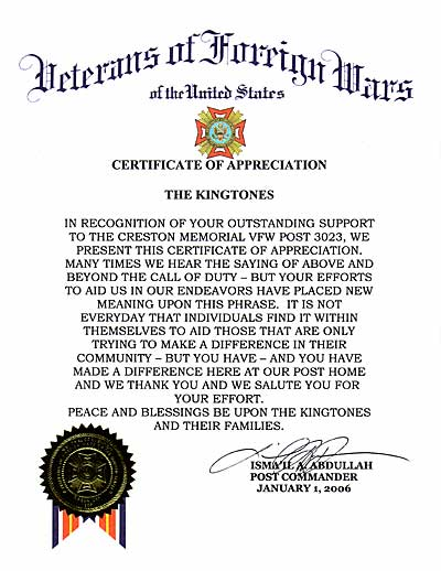Kingtones merorabilia on january 1 2006 the kingtones were presented with a certificate of appreciation from the vfw creston post 3023 for services rendered above and yadclub Image collections